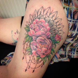 Peony flower tattoo