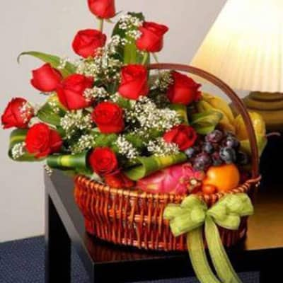 12 Red Roses Mixed Fruits Basket